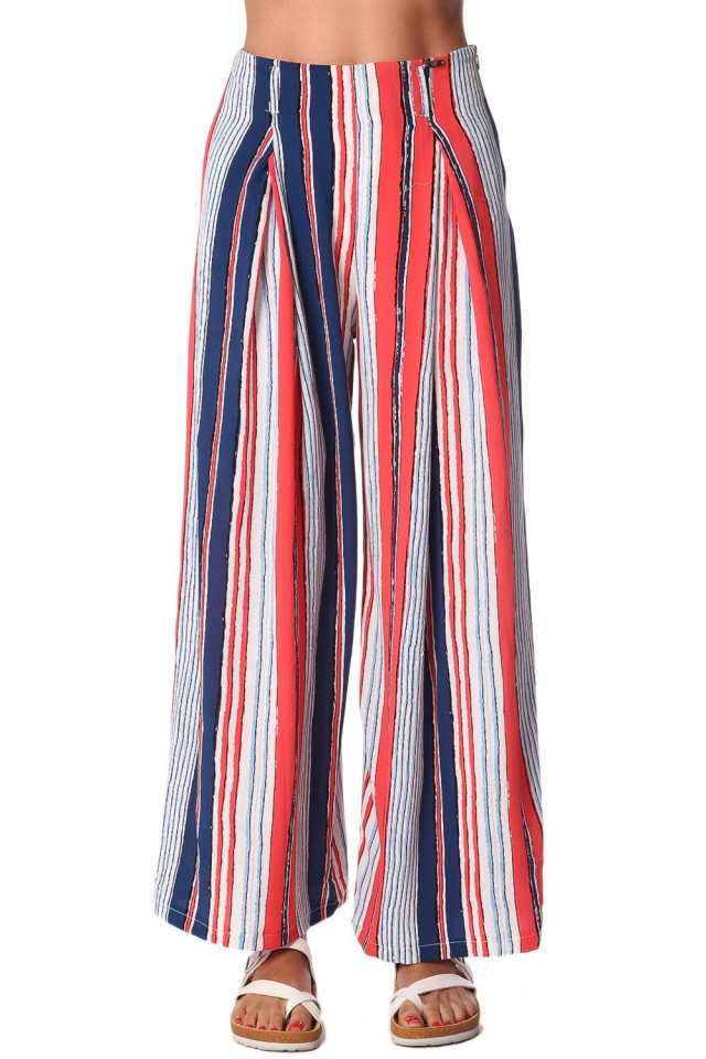 Red wide leg pants in stripe