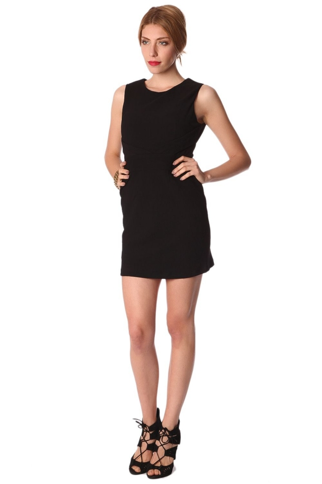 Black bodycon mini dress with wrap front detail