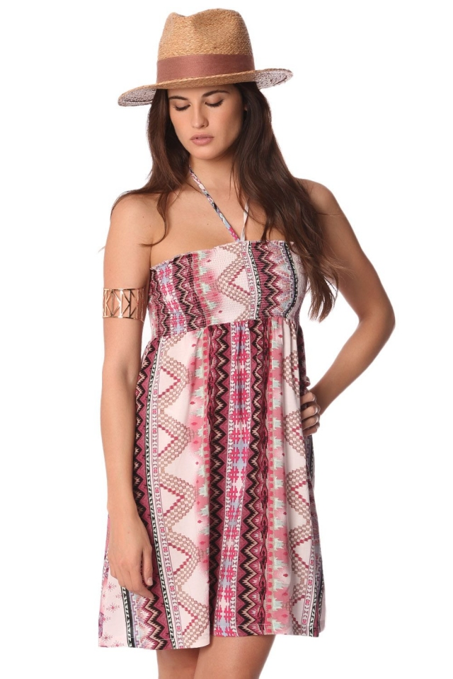 Bandeau dress with geo-tribal print and tie halter straps