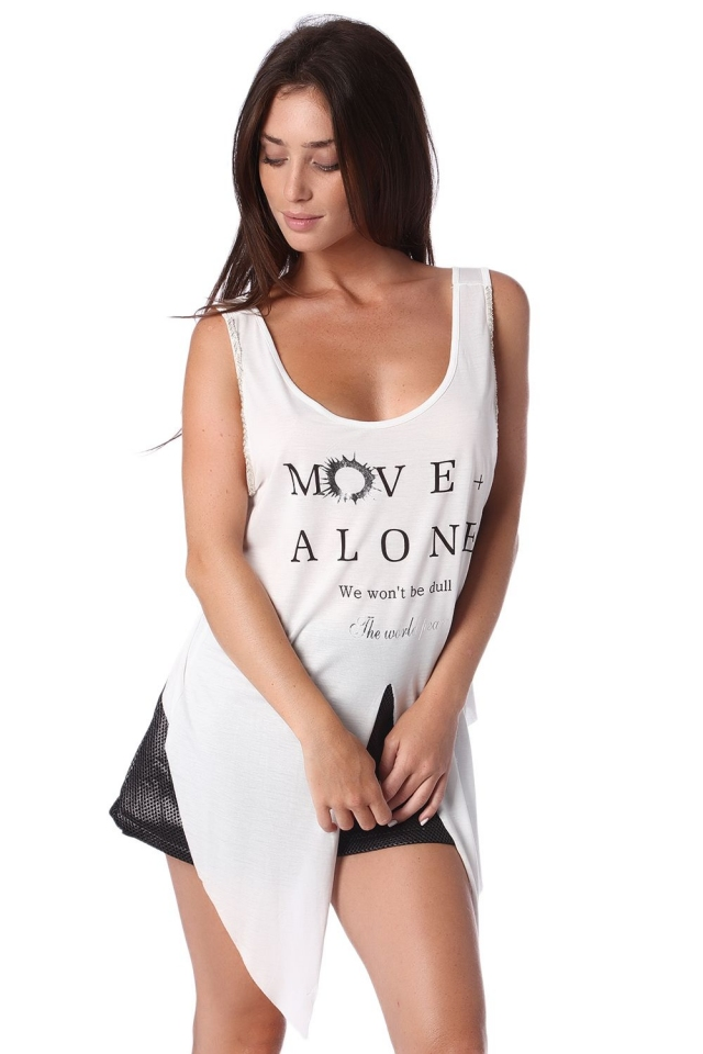 White logo tank top with center split