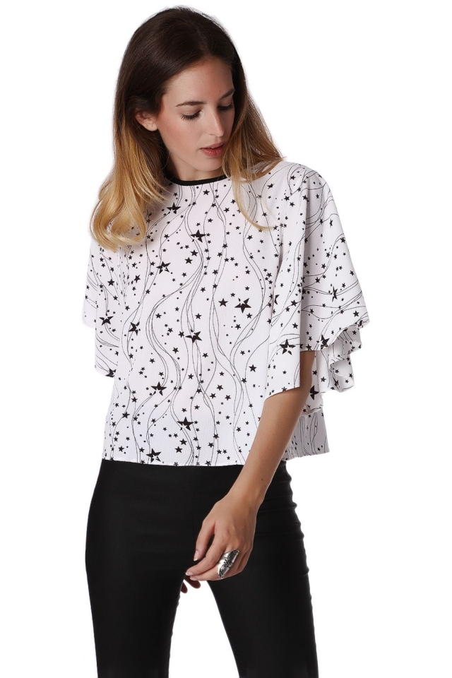 Relaxed Angel Sleeve Top In Black Star Print
