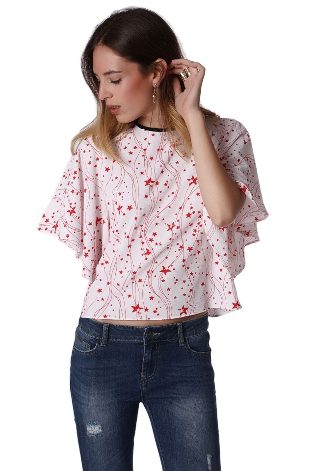 Relaxed Angel Sleeve Top In Red Star Print