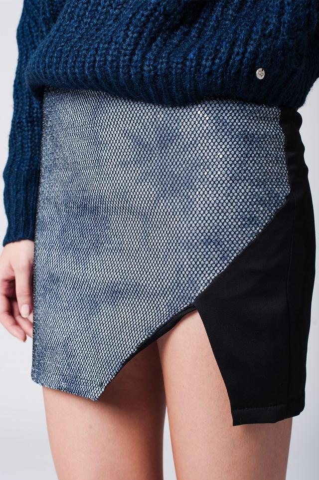Mini rok met overslag aan de voorkant blauw