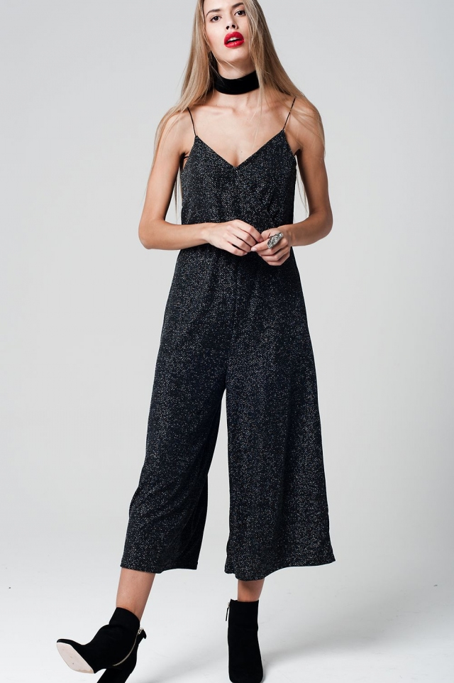Black Jumpsuit with Culotte Leg