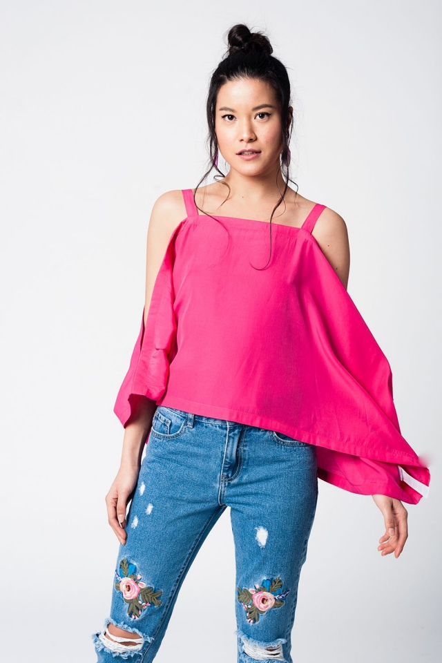 Fuchsia crop top with straps and cold shoulders