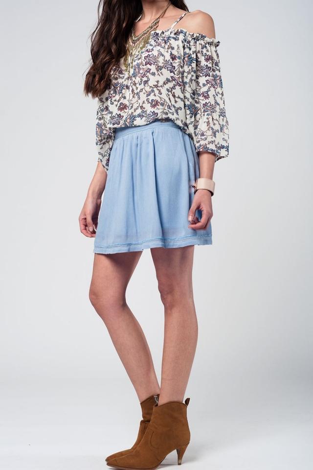 Aztec blue mini skirt