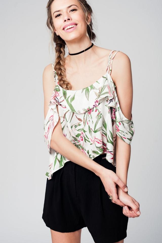 top met blote schouders en bladeren print groen