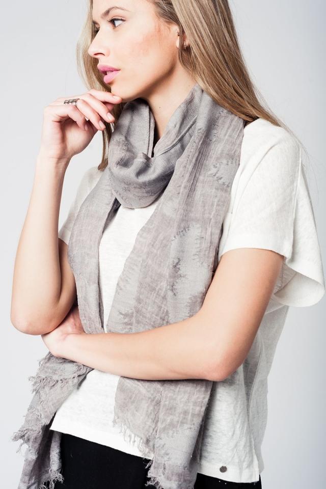 Grijze lichte sjaal met sterrenprint en franjes