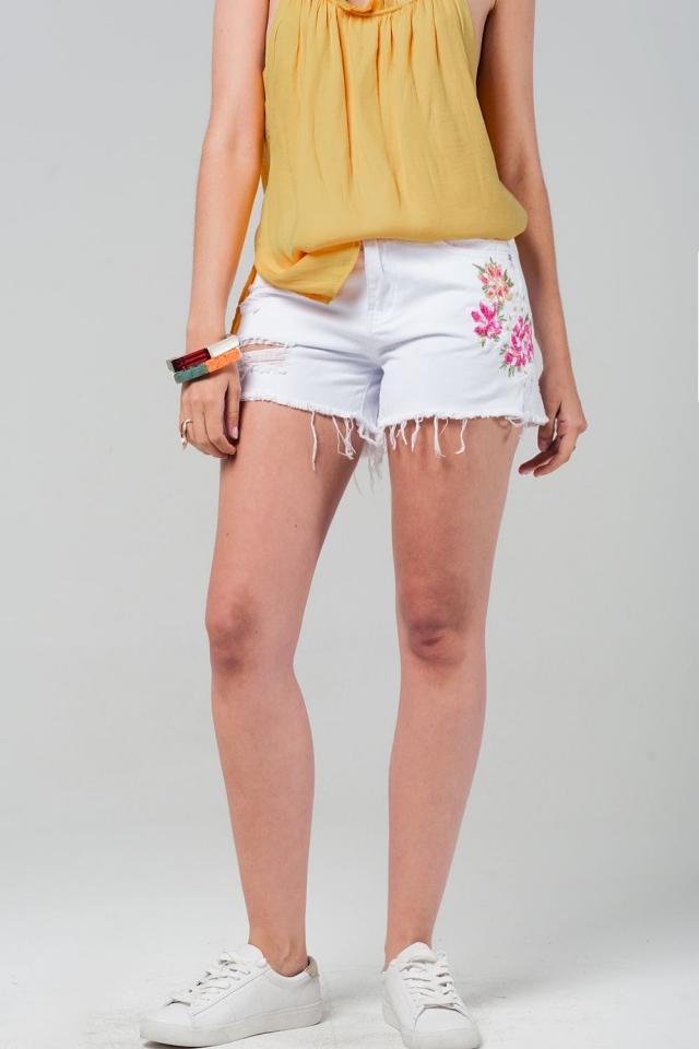 Witte korte spijkerbroek met geborduurde bloemen