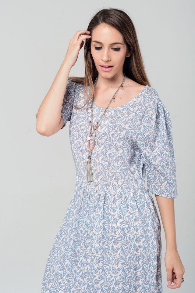 Grijze midi jurk met bladeren print