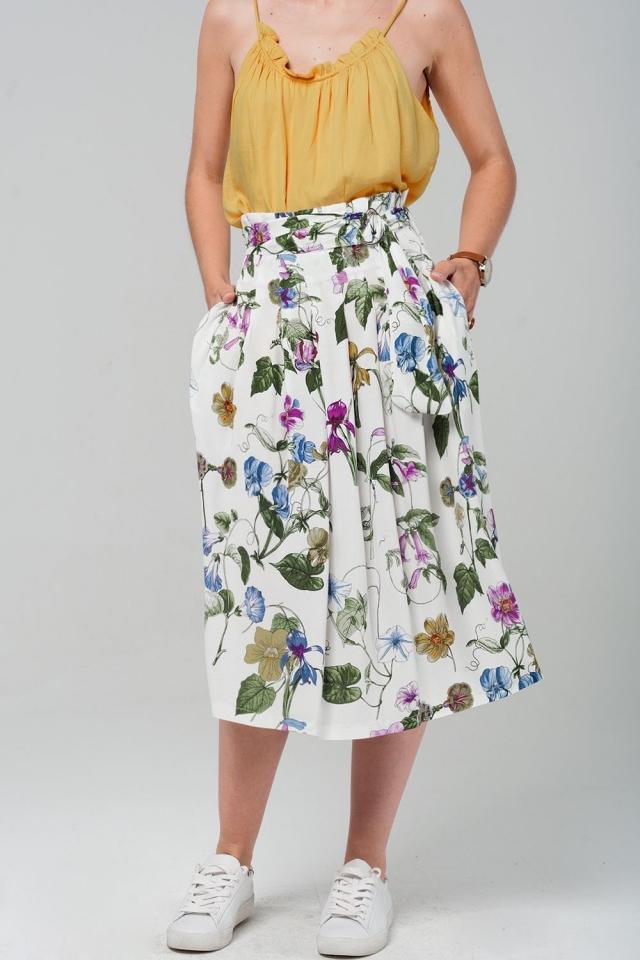 Witte midi rok met bloemenprint