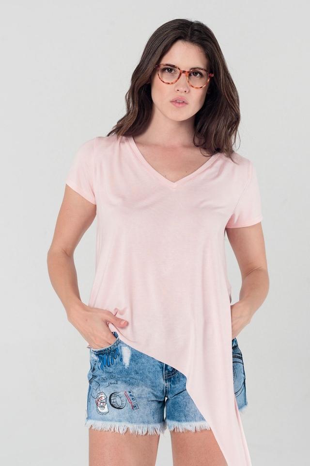 Assymetrisch roze t-shirt
