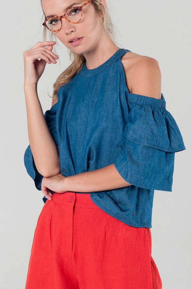 Cold shoulder dark denim top