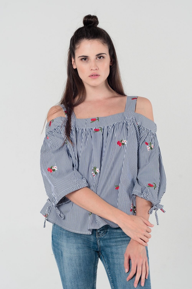 Embroidered cold shoulder striped top in navy