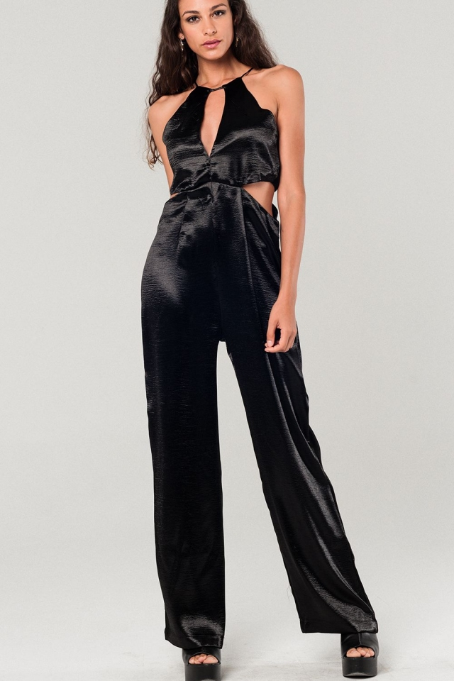 Metallic zwarte jumpsuit