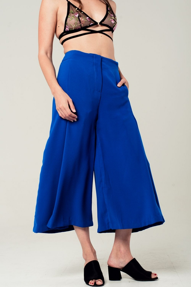 Culottes in elektrisch blauw
