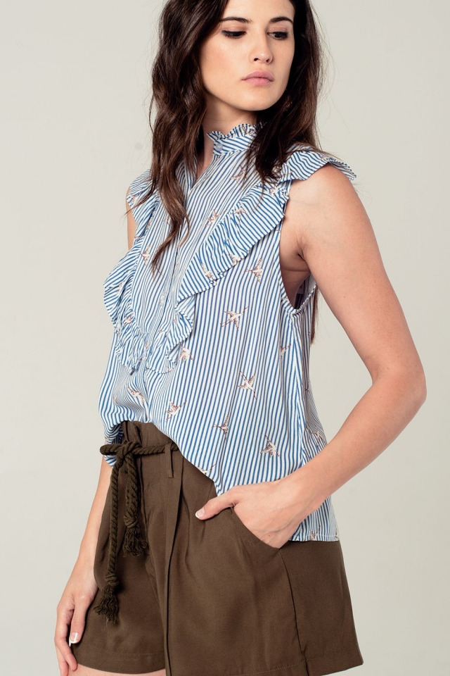 Blauwe gestreepte blouse met ruches en vogelprint