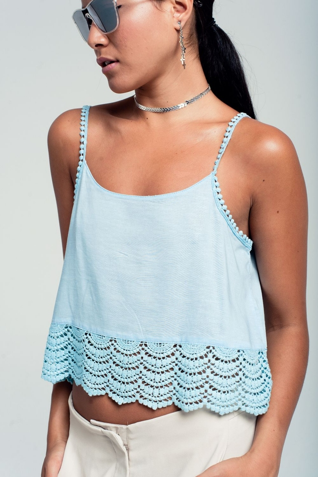 Crop top with crochet detail in blue