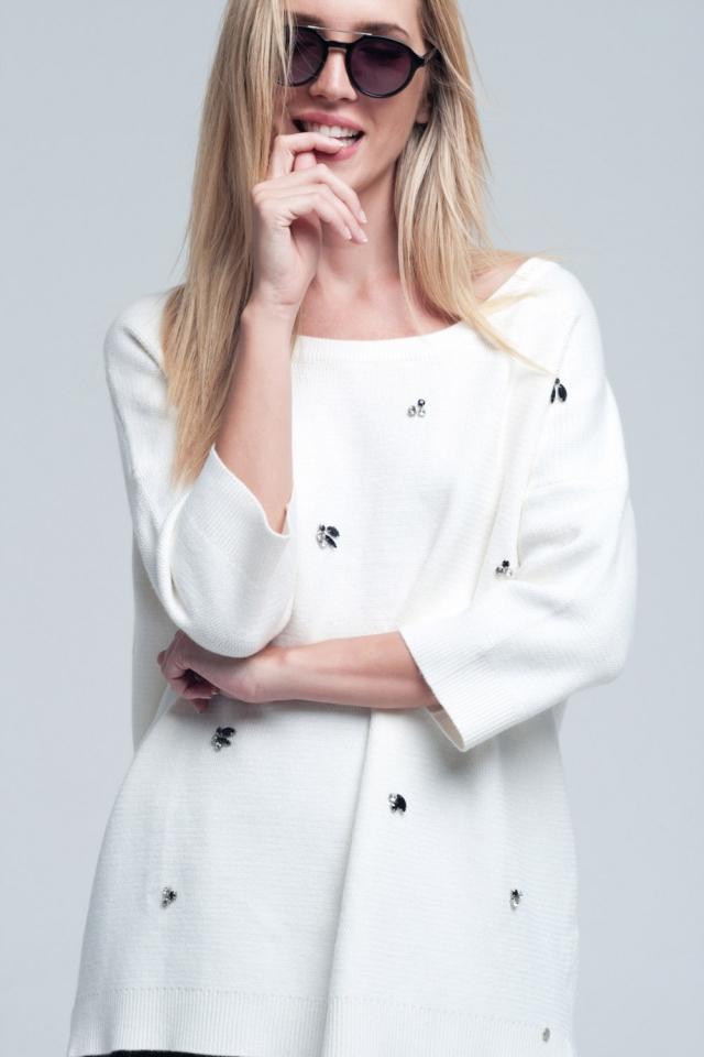 Asymmetrische witte trui details parels en open rug