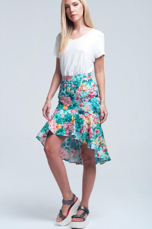 Bloemen asymmetrische groene rok