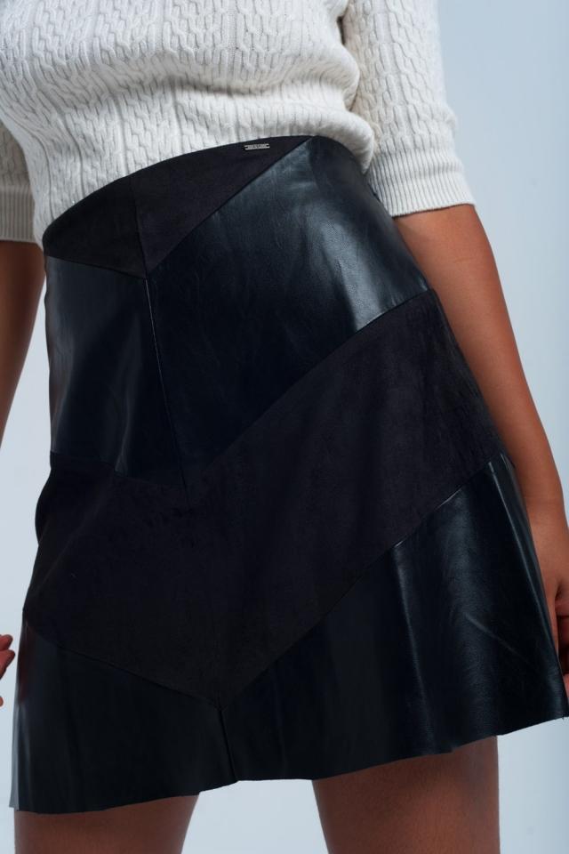 Zwarte rok met duo stoffen