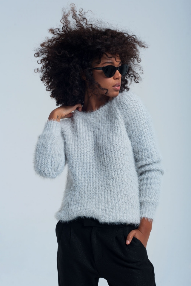 Grijze gebreide trui