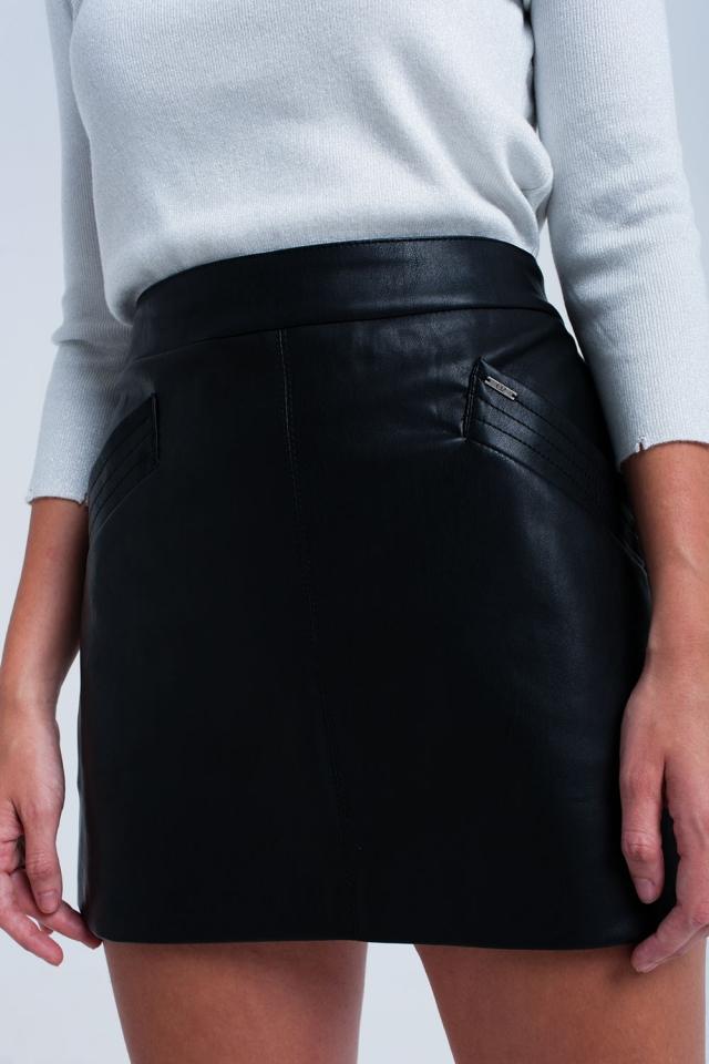 Zwart faux-leer rok