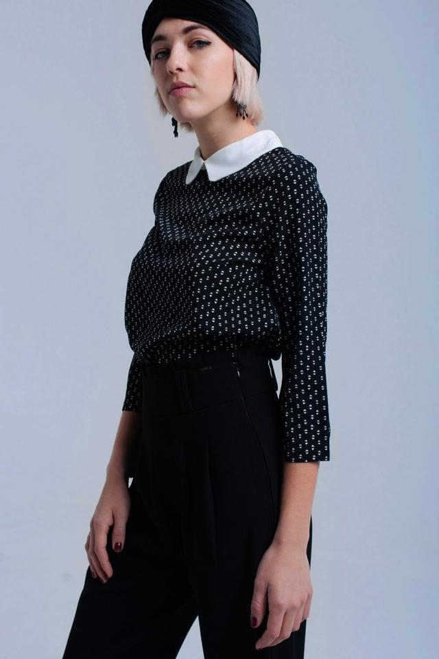 Black printed shirt with ribbons