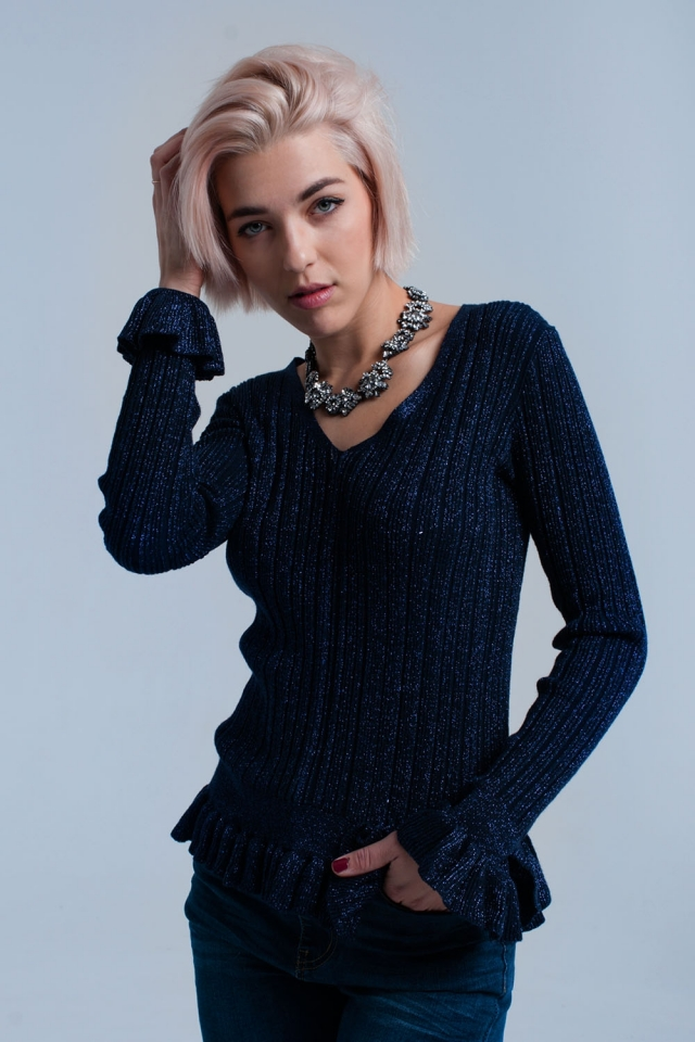 Navy knitted ruffled sweater