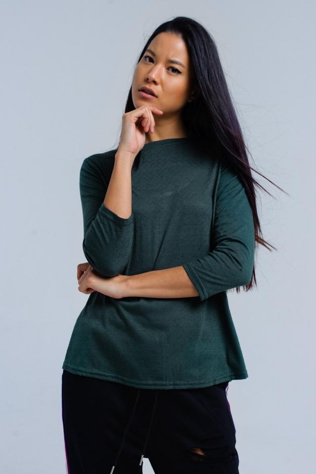 Groen shirt met elastische band
