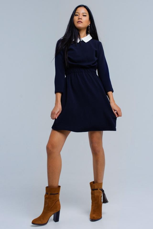 Navy jurk met elastische taille