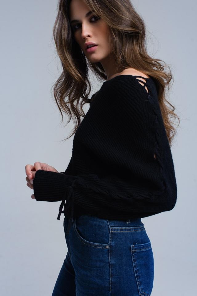 Zwarte crop trui met strikken