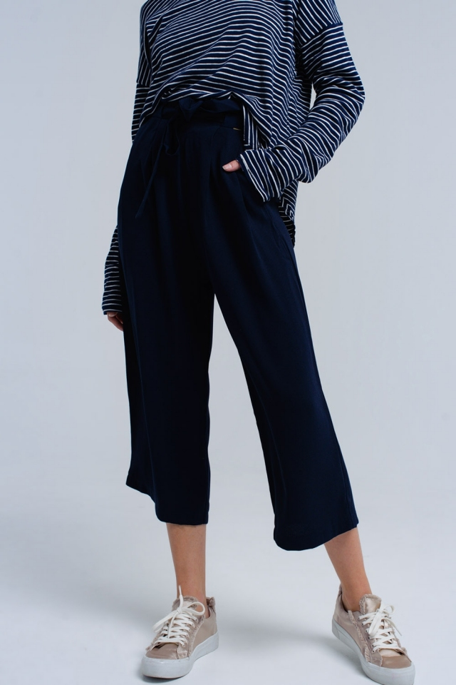 Marine broek met strikjes