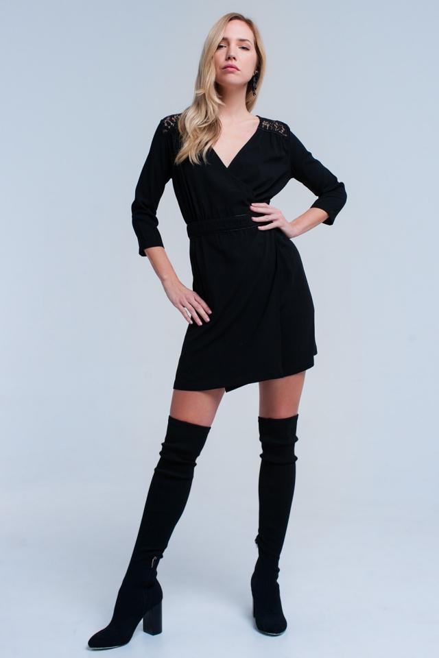 Zwarte wrap jurk met kant detail