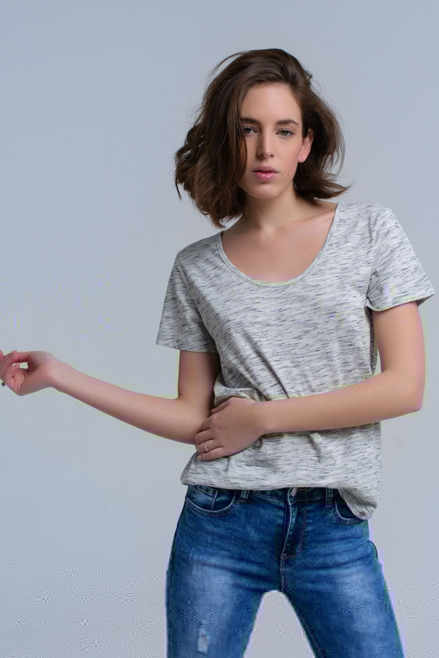 Grijs t-shirt met spikkelprint