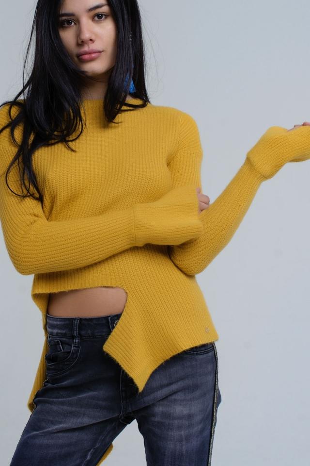 Mosterd gebreide asymmetrische trui