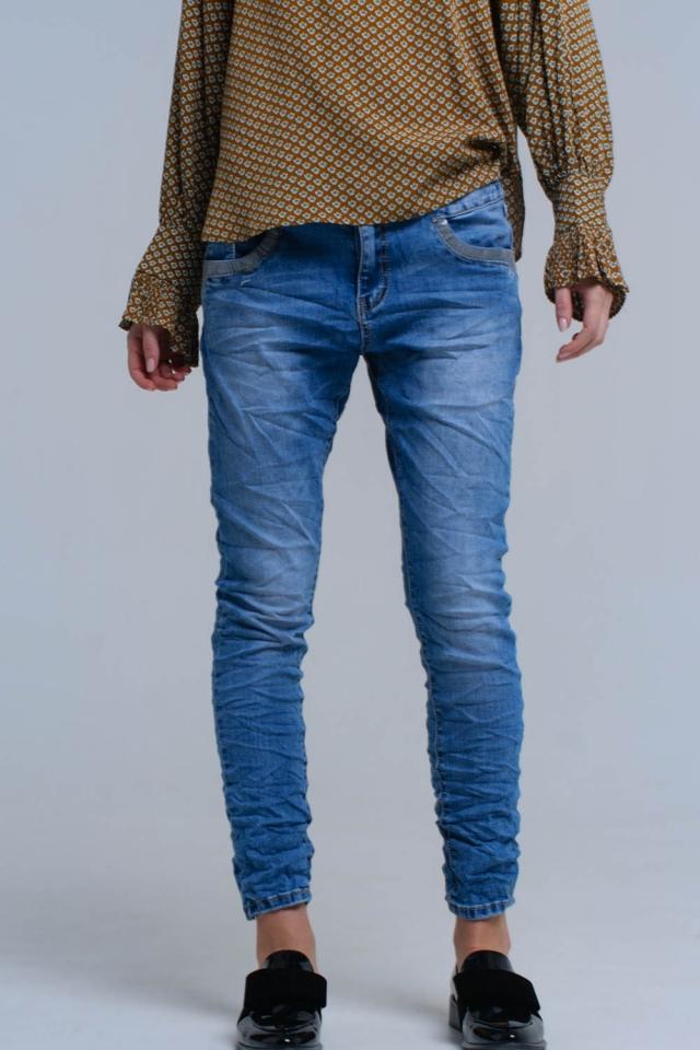 Blauwe skinny spijkerbroek met paillet details