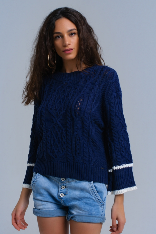 Blauwe kabel gebreide trui