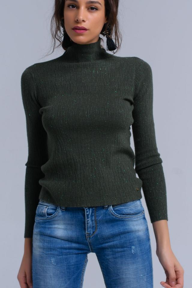 Groene gebreide trui met lurex