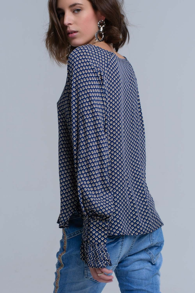 Navy printed shirt with ruffled cuffs
