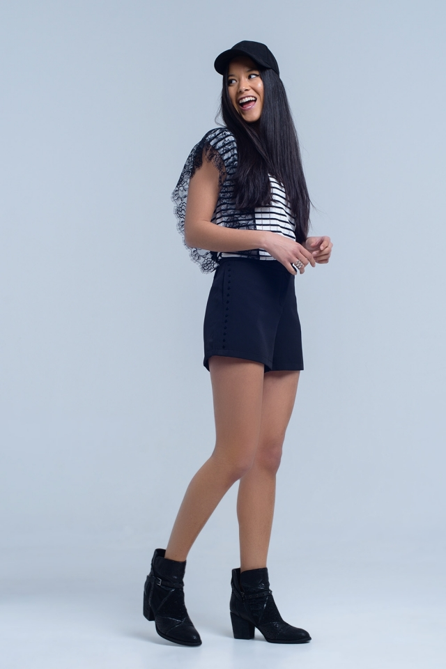 Black short with side detail