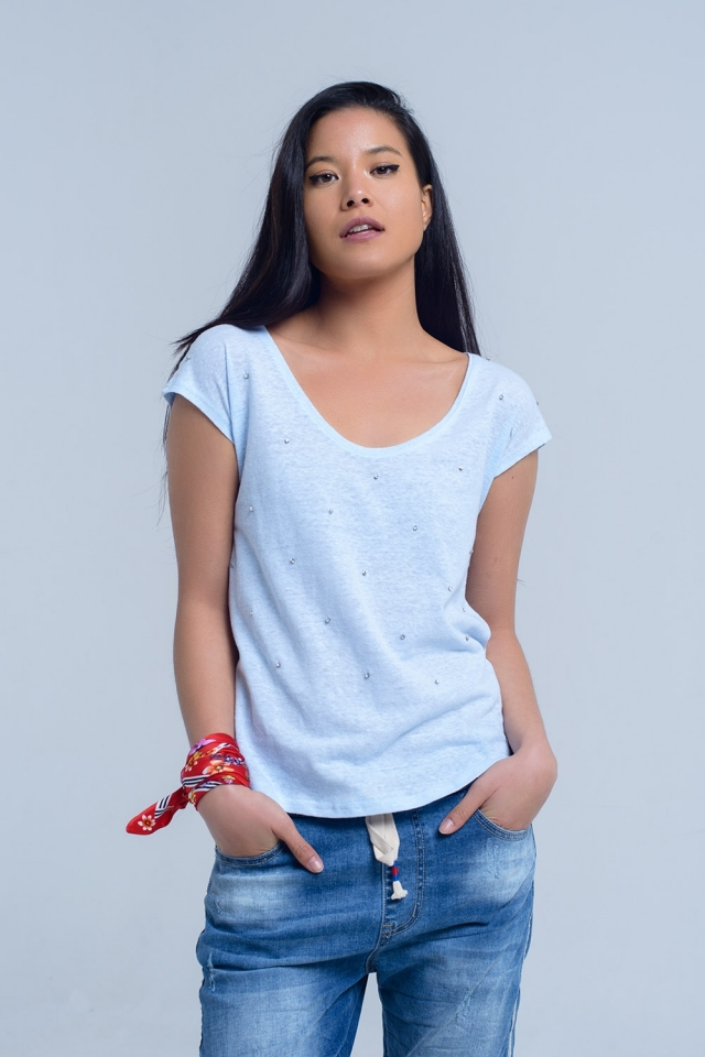Blue t-shirt with crystal rhinestones