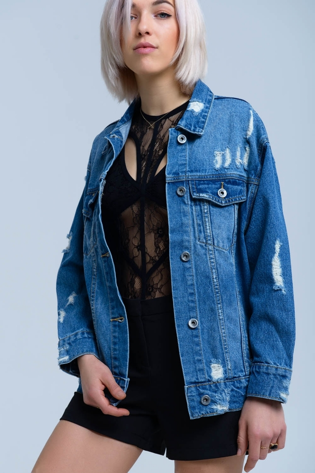 Denim jacket with rips detail