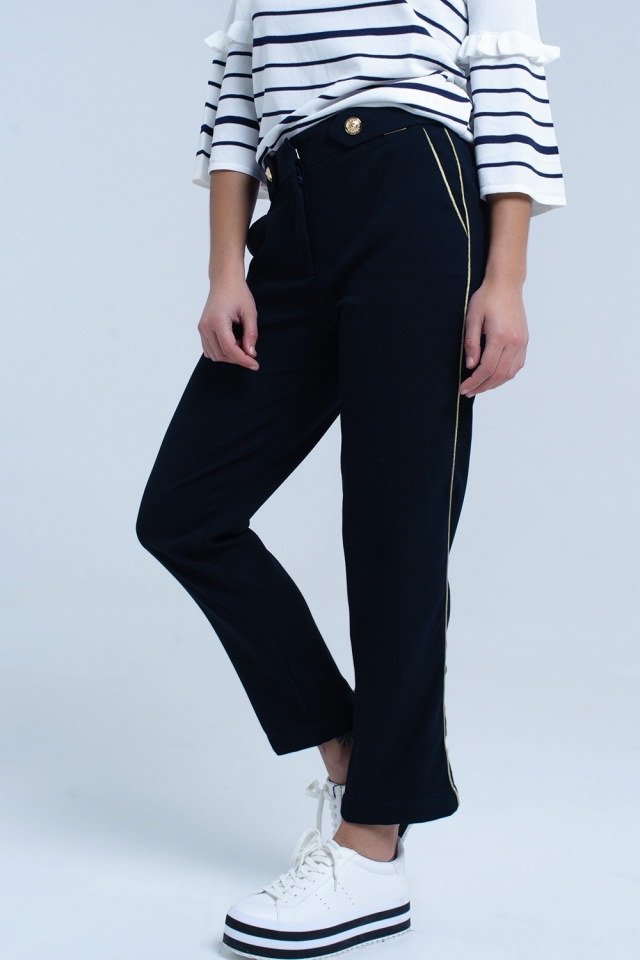 Navy pants with contrast trim