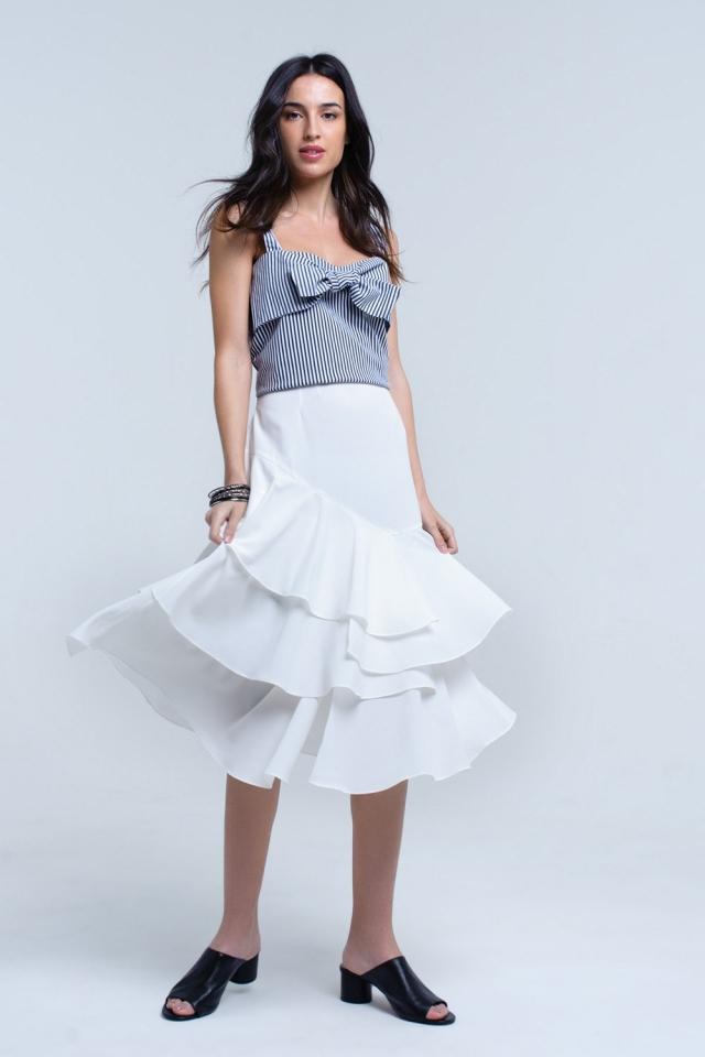 White midi skirt with ruffle detail