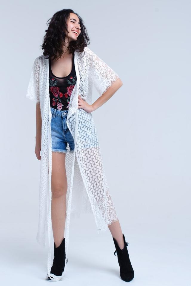 White longline lace cardigan