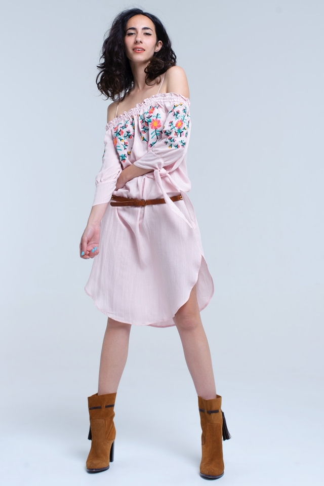 Pink off the shoulder embroidered midi dress