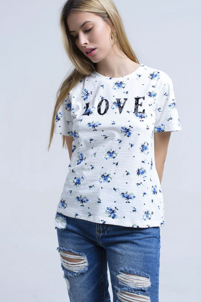 T-shirt with floral print and logo