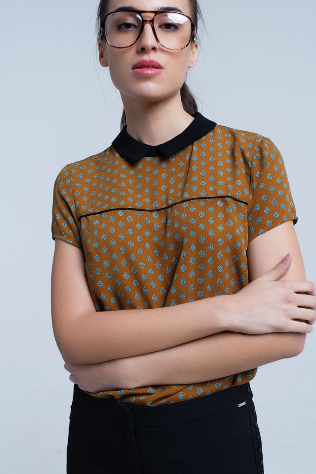 Mustard top with printed detail