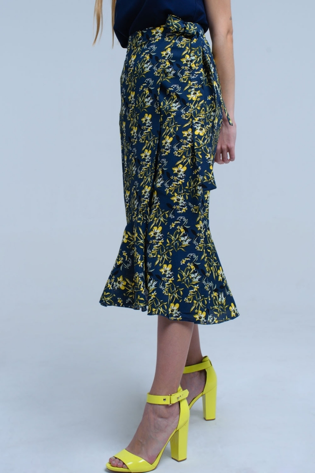 Navy skirt with Ruffles and printed flowers